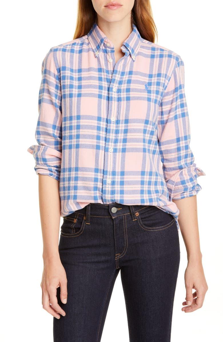 POLO RALPH LAUREN Logo Plaid Shirt, Main, color, PINK/ BLUE