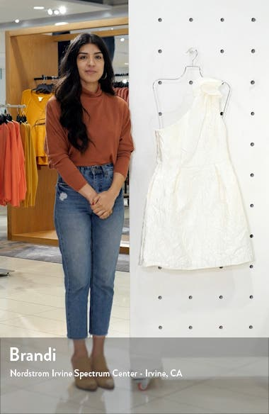 Floral Jacquard One Shoulder Minidress, sales video thumbnail