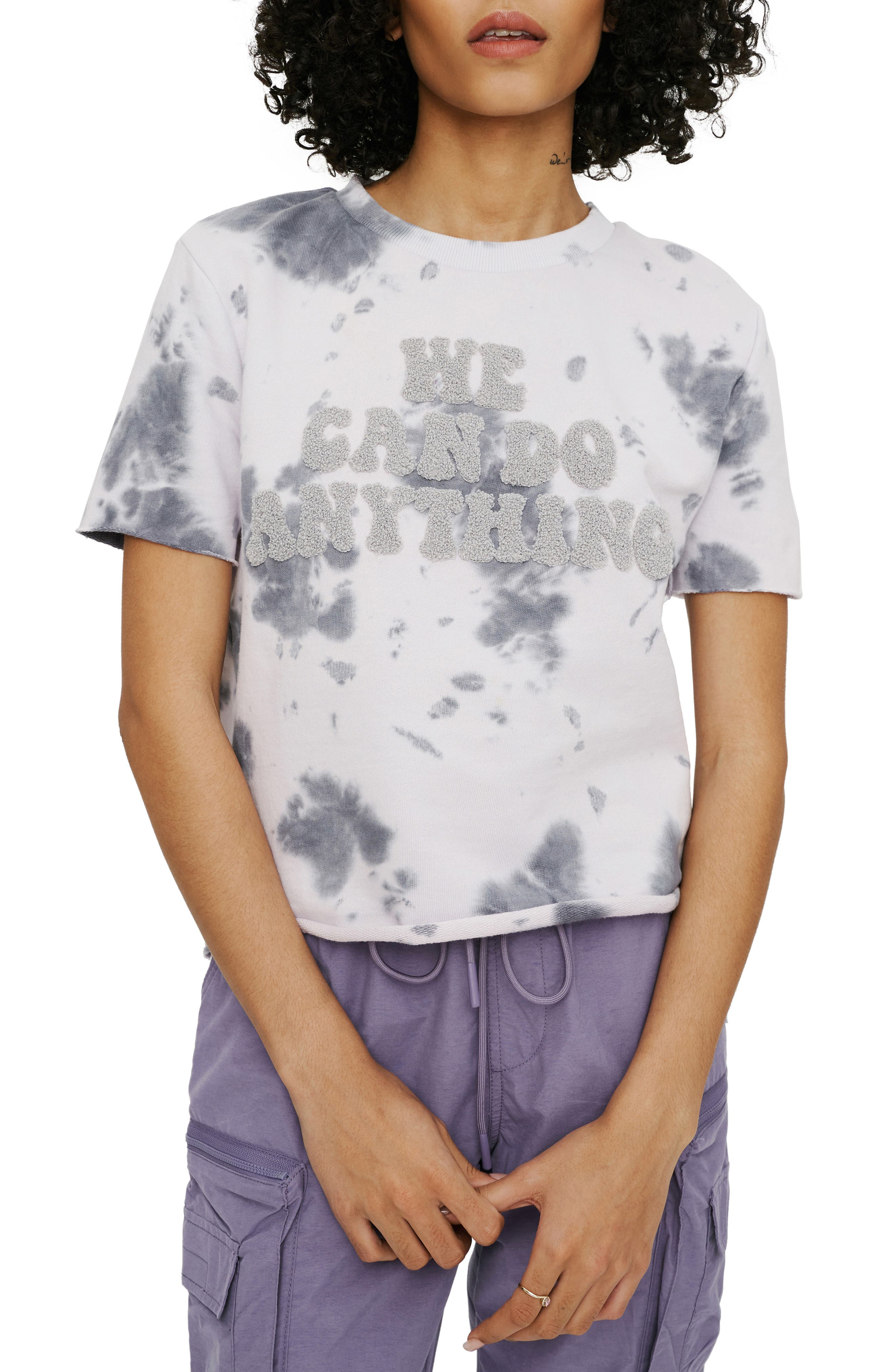 Applique Tie Dye French Terry Crop T-Shirt