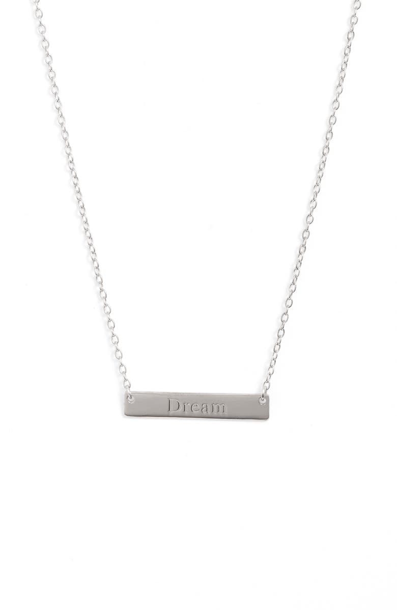 STERLING FOREVER Dream Bar Pendant Necklace, Main, color, SILVER