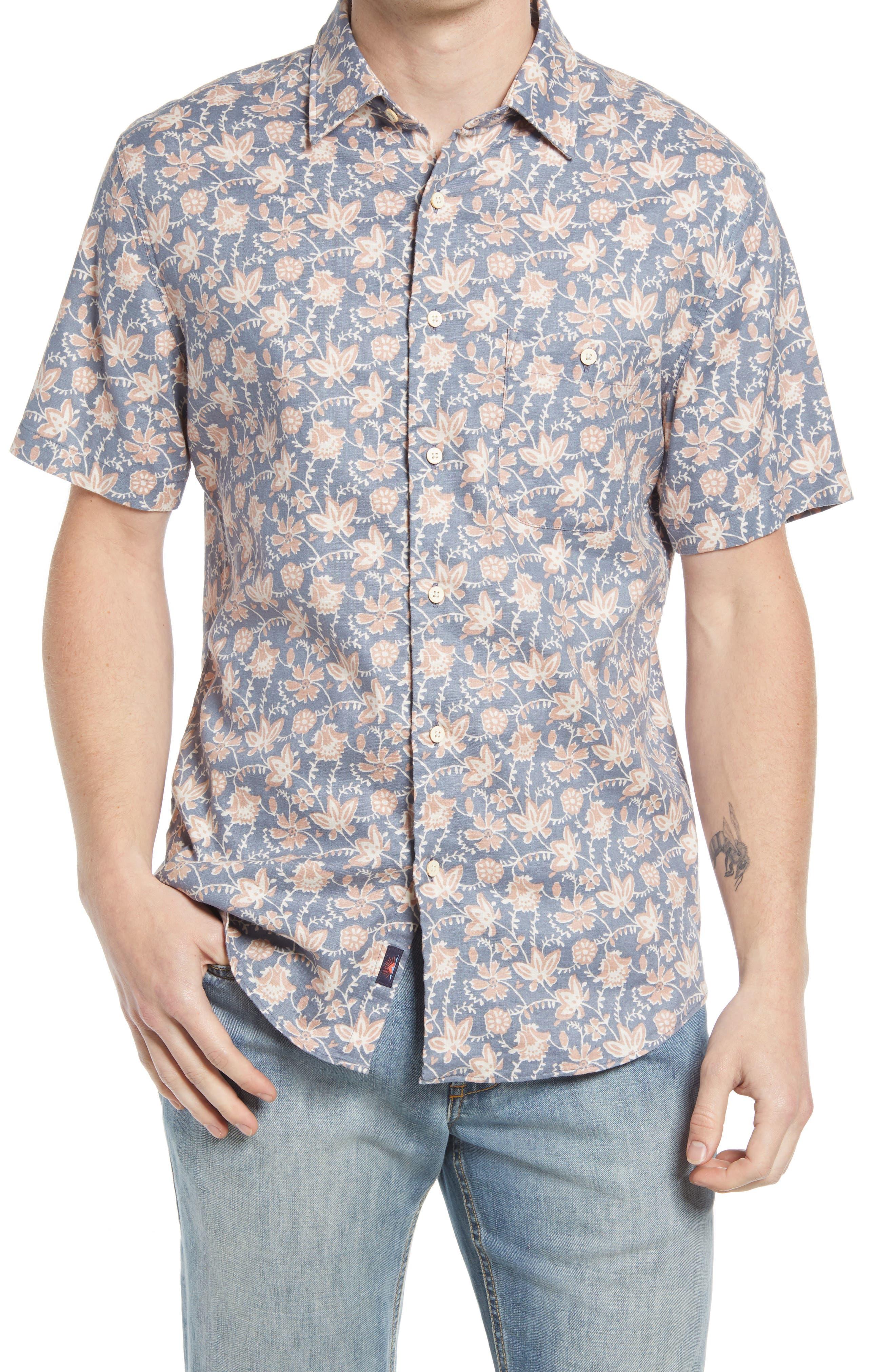 Breeze Floral Stretch Short Sleeve Button-Up Shirt