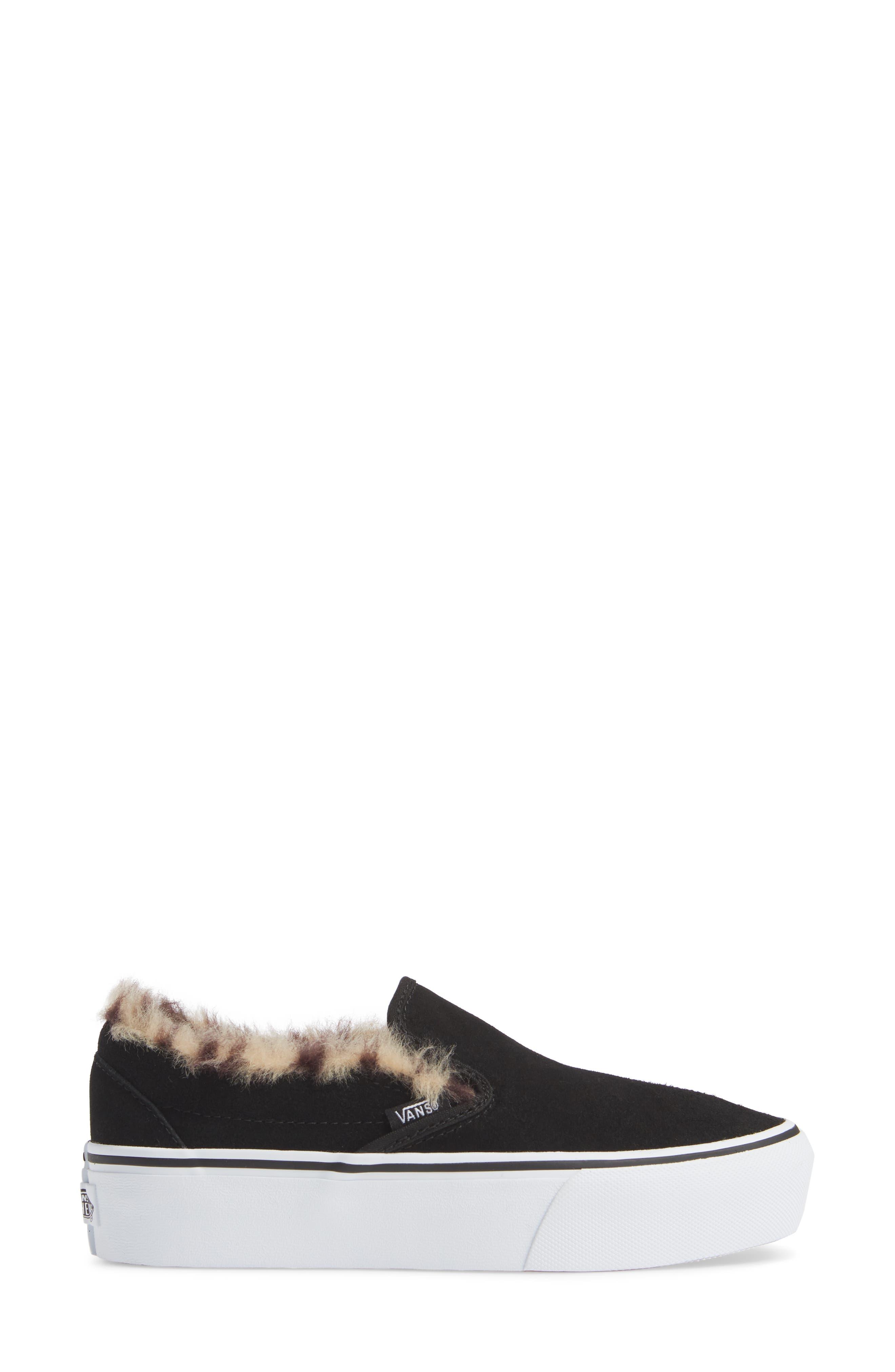 ,                             Classic Faux Fur Slip-On Platform Sneaker,                             Alternate thumbnail 3, color,                             001