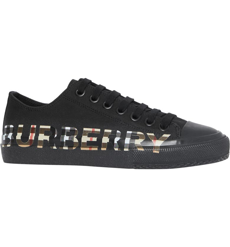 BURBERRY Larkhall Logo Check Sneaker, Main, color, BLACK / ARCHIVE BEIGE