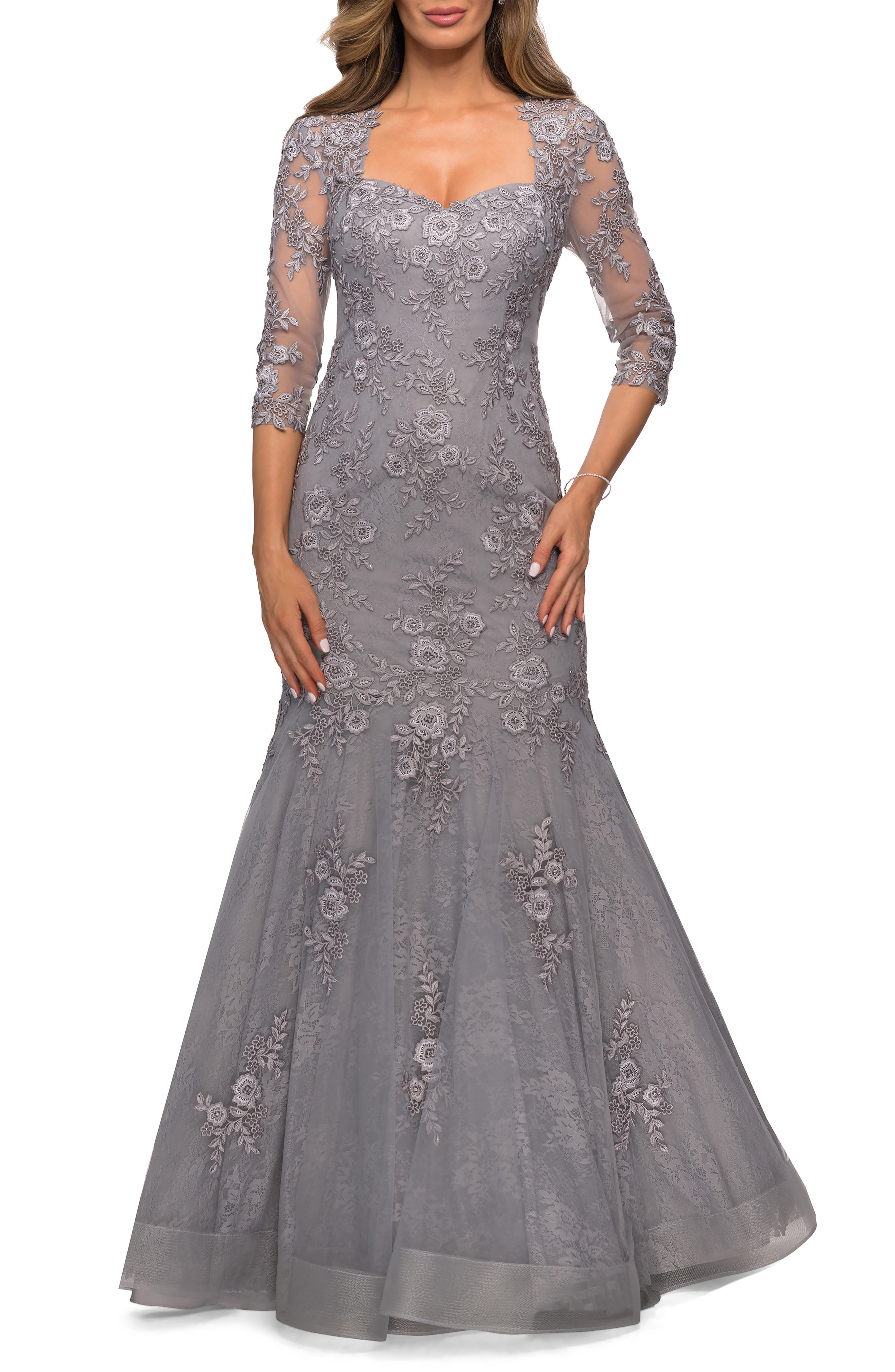 Vintage Prom Dresses, Homecoming Dress Womens La Femme Floral Lace  Tulle Mermaid Gown $418.60 AT vintagedancer.com