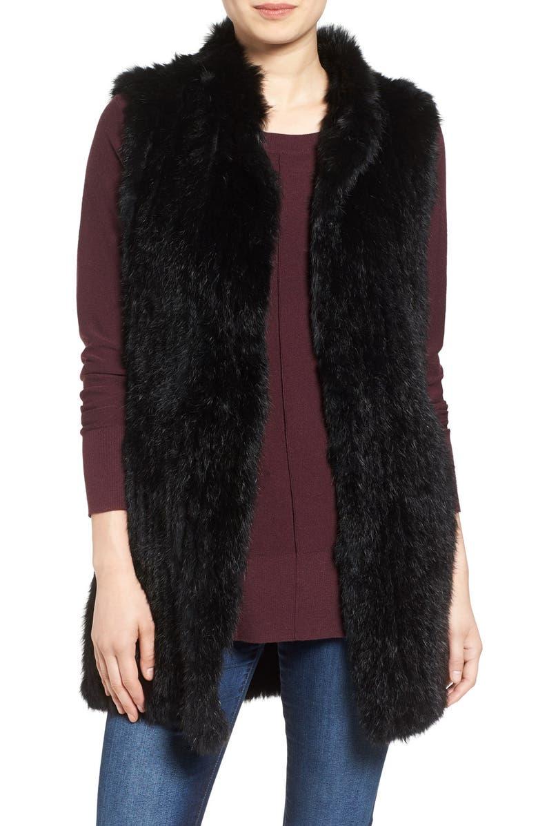 LOVE TOKEN Long Genuine Rabbit Fur Vest, Main, color, 001