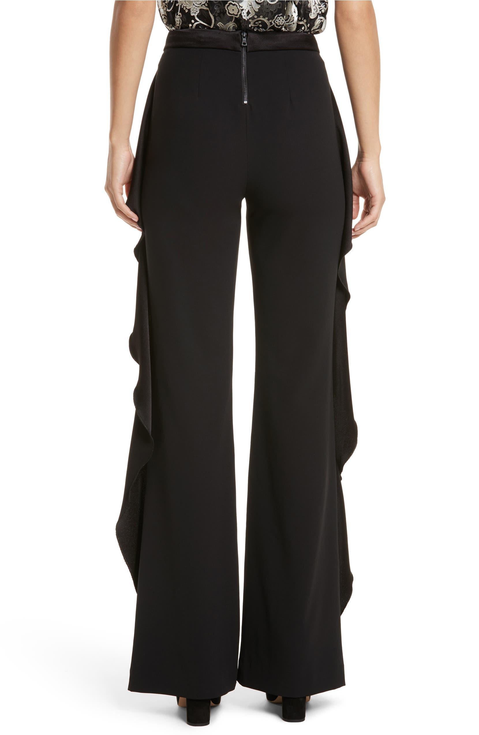 2cdeb8cf53aa Alice + Olivia Wallace Side Ruffle High Waist Pants | Nordstrom