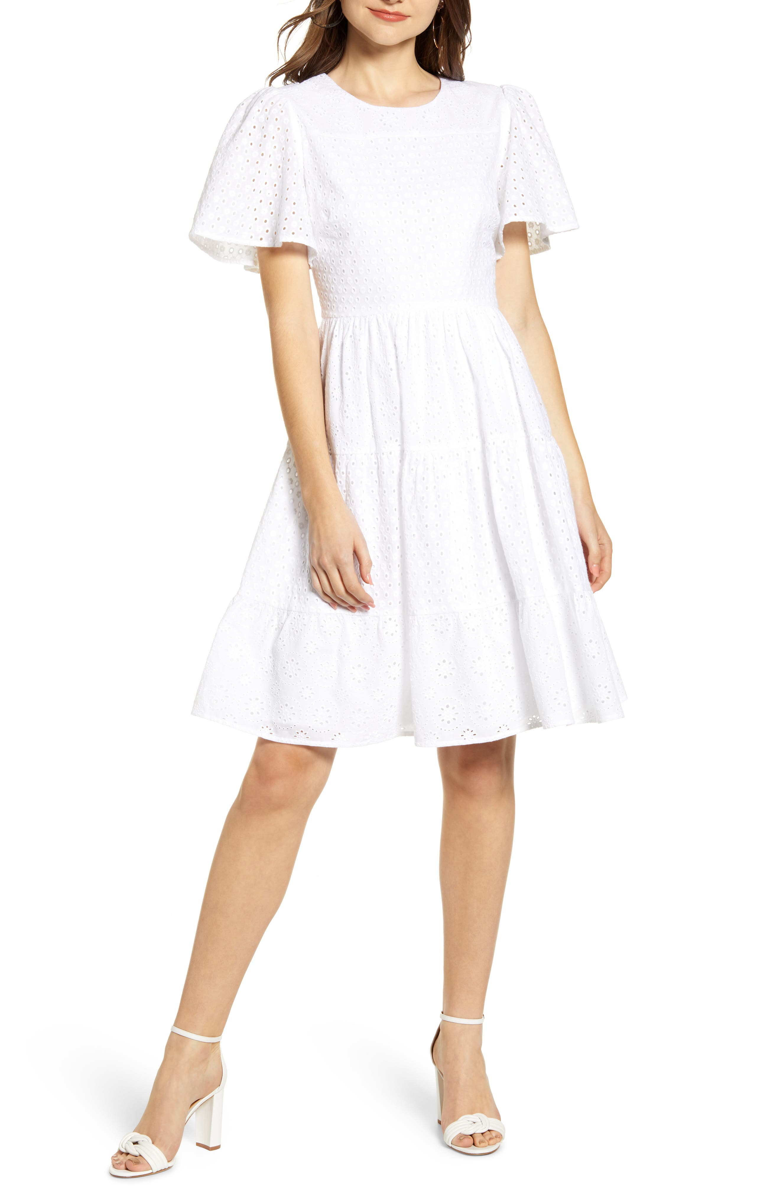 Mixed Eyelet A-Line Dress, Main, color, WHITE