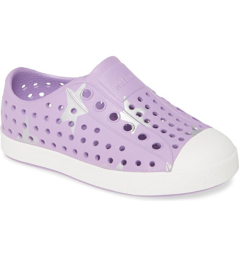 NATIVE SHOES Jefferson Water Friendly Perforated Slip-On, Main, color, LAVENDER PURPLE/ WHITE/ SILVER