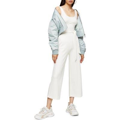 Topshop Sleeveless Rib Knit Jumpsuit, US (fits like 6-8) - White