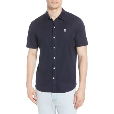 Psycho Bunny Oxford Short Sleeve Pima Cotton Button-Up Shirt