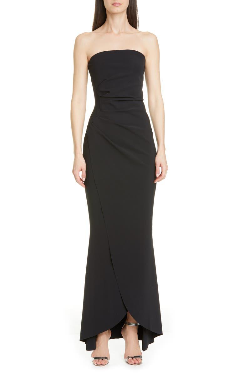 CHIARA BONI LA PETITE ROBE Chiharu Strapless High/Low Gown, Main, color, BLACK