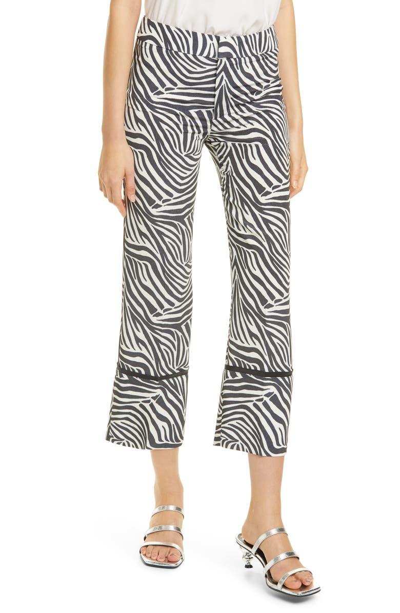 SMYTHE Zebra Print Crop Pants, Main, color, ZEBRA PRINT