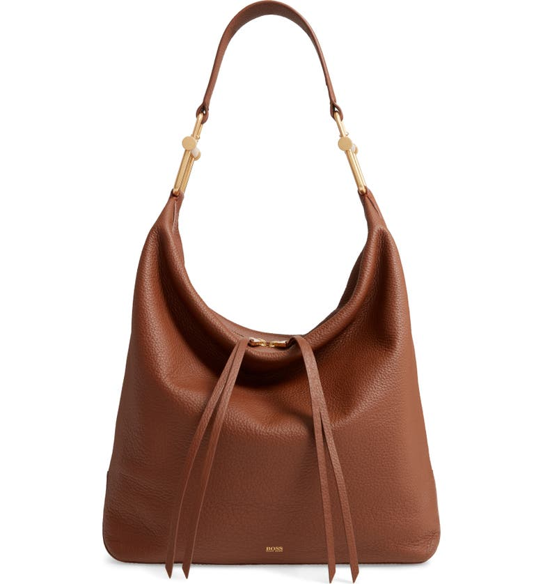 BOSS Christy Leather Hobo, Main, color, LIGHT/ PASTEL BROWN