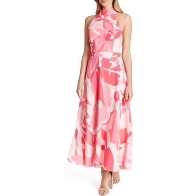 Tahari Printed Halter Maxi Dress, Pink