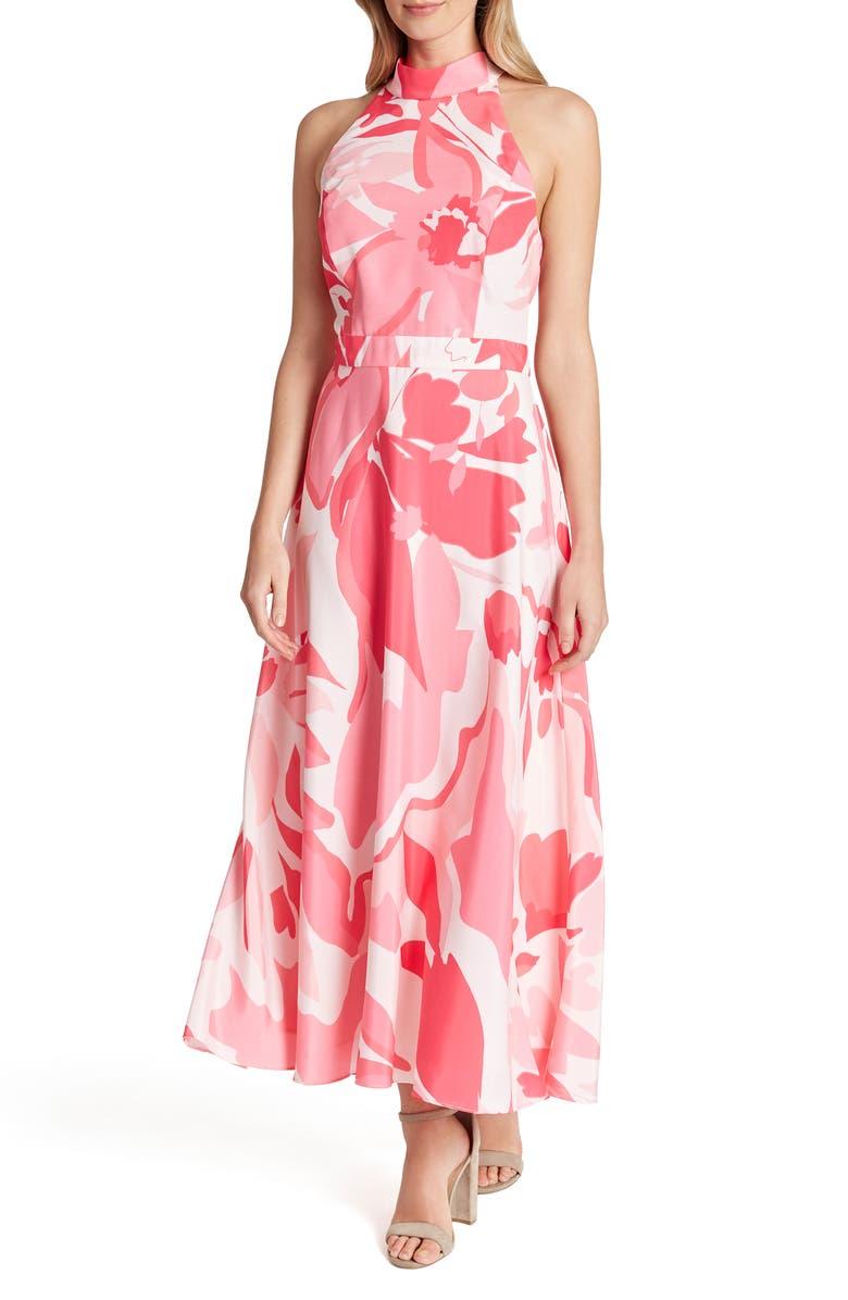 TAHARI Printed Halter Maxi Dress, Main, color, PINK SWIRL
