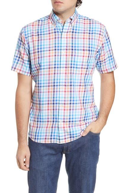 Image of Peter Millar Seaside Galleon Check Short Sleeve Shirt