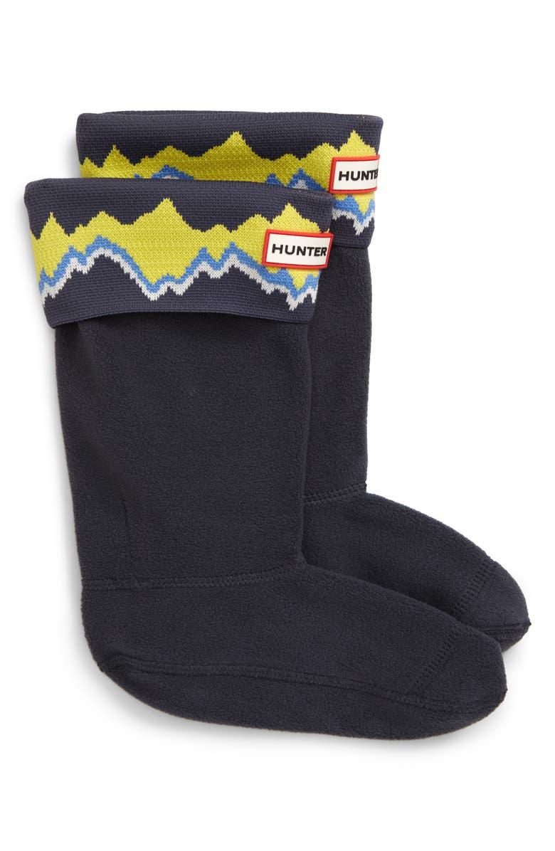 HUNTER Storm Stripe Cuffed Boot Socks, Main, color, NAVY