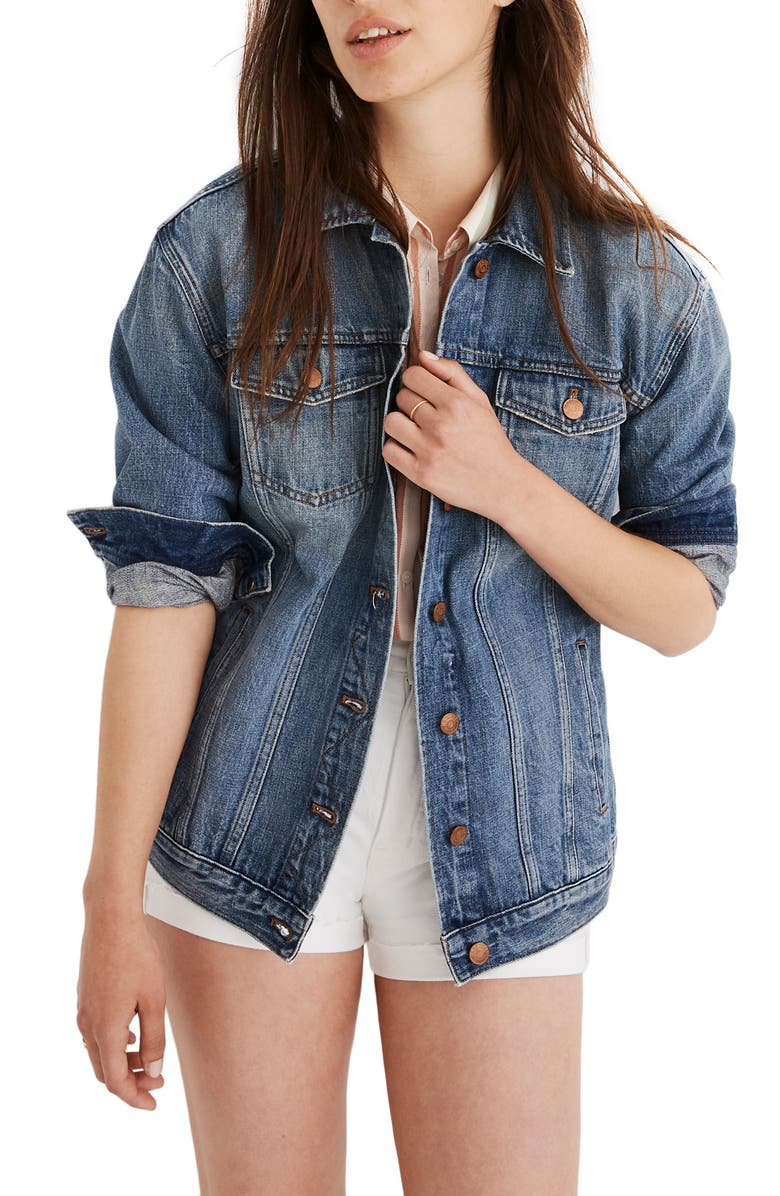 MADEWELL Oversize Denim Jacket, Main, color, 400