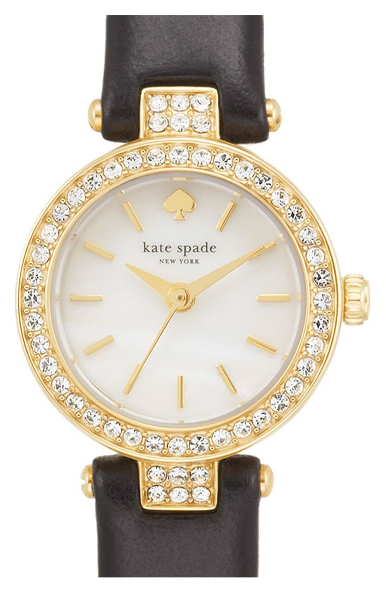 KATE SPADE NEW YORK 'tiny metro' crystal bezel leather strap watch, 20mm, Main, color, 001