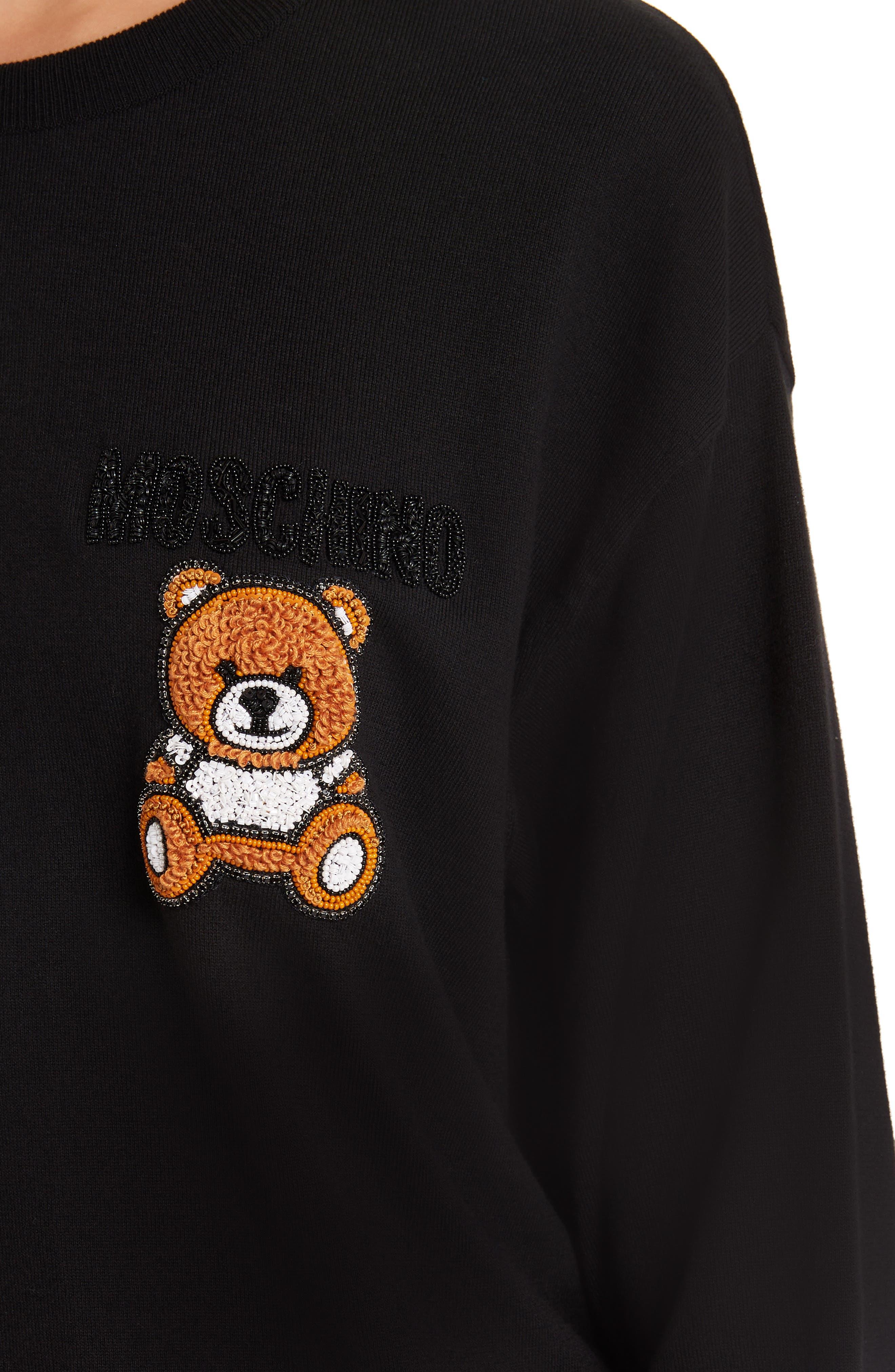 ,                             Embellished Teddy Sweater,                             Alternate thumbnail 4, color,                             BLACK