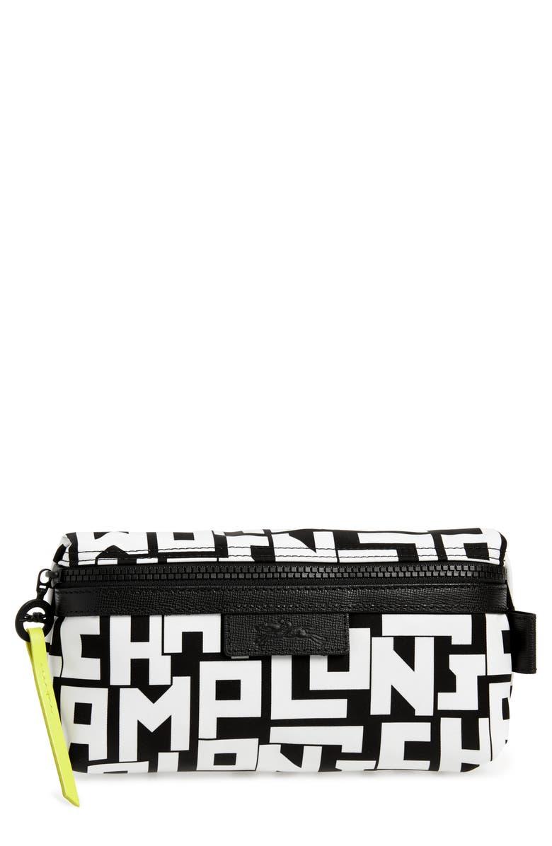 LONGCHAMP Le Pliage Logo Nylon Cosmetic Bag, Main, color, BLACK/ WHITE