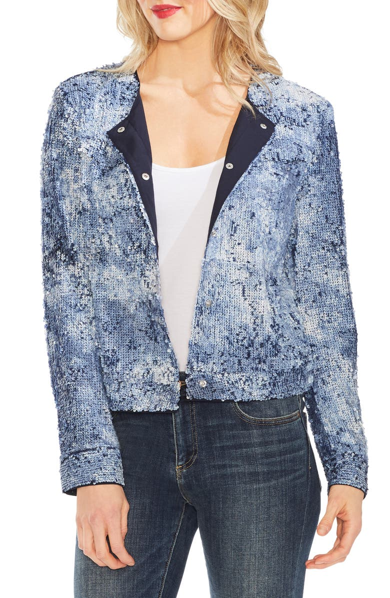 VINCE CAMUTO Sequin Bomber Jacket, Main, color, 467
