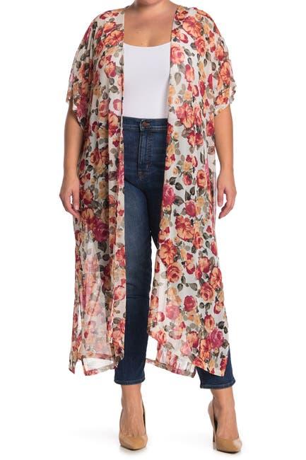 Image of GOOD LUCK GEM Mesh Floral Print Short Sleeve Kimono