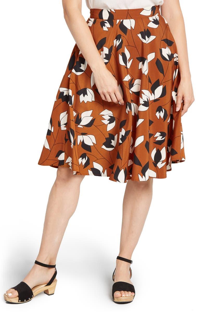 MODCLOTH Floral Print Circle Skirt, Main, color, BROWN FLORAL