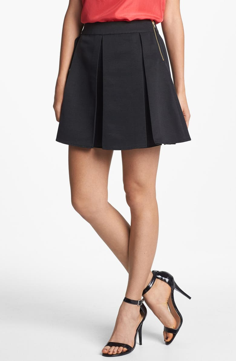 COLLECTIVE CONCEPTS Pleated Skirt, Main, color, Black