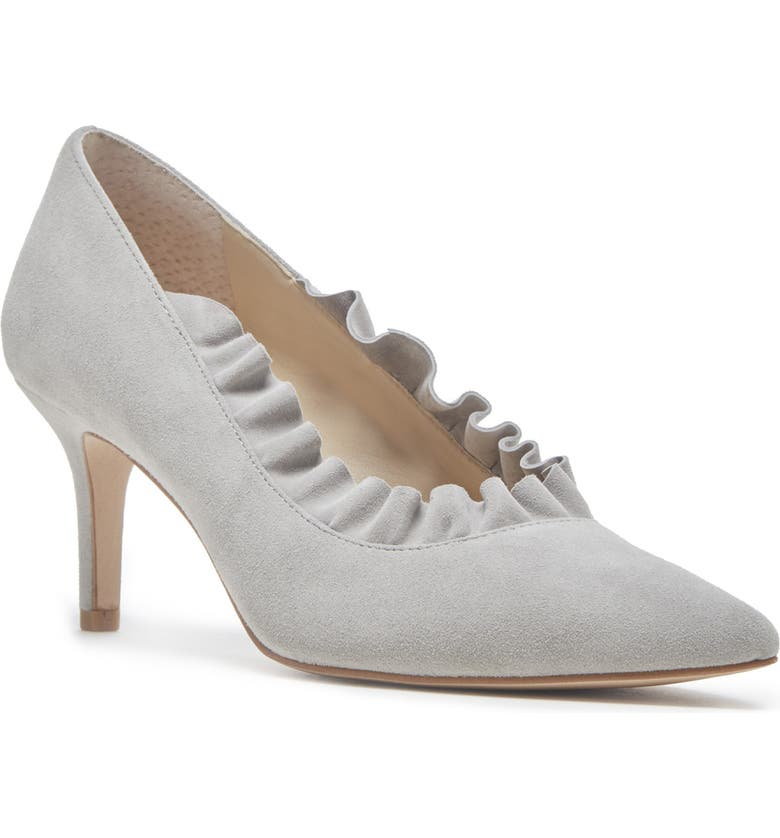 SOLE SOCIETY Ruffle Trim Pointed Toe Pump, Main, color, WISPY GREY SUEDE