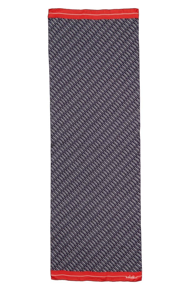 VALENTINO GARAVANI Sign Stripe Silk Scarf, Main, color, NAVY/ ROSSO/ AVORIO