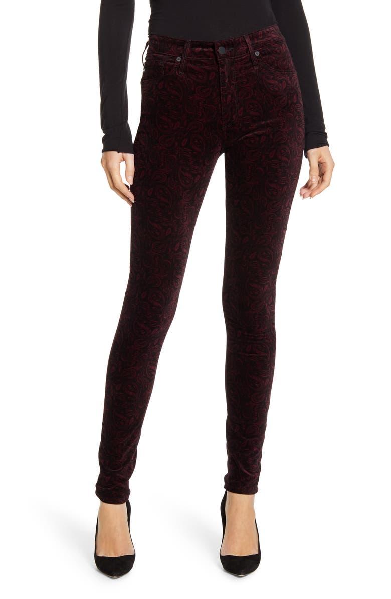AG The Farrah High Waist Velveteen Skinny Jeans, Main, color, 930