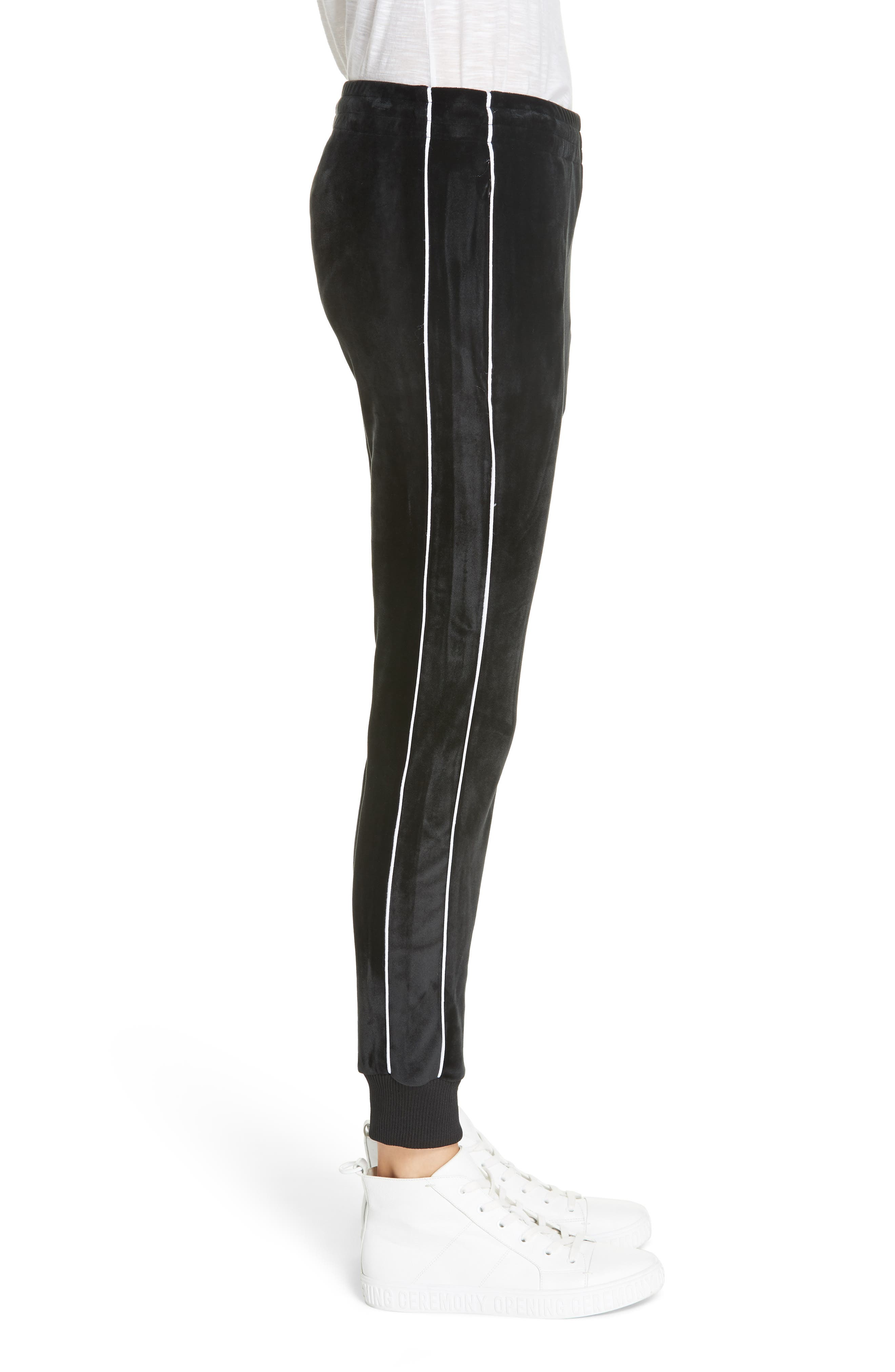 ,                             Velour Leggings,                             Alternate thumbnail 4, color,                             BLACK