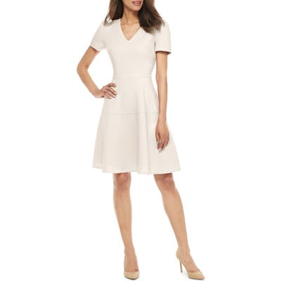 Gal Meets Glam Collection Kate V-Neck Fit & Flare Dress, Ivory