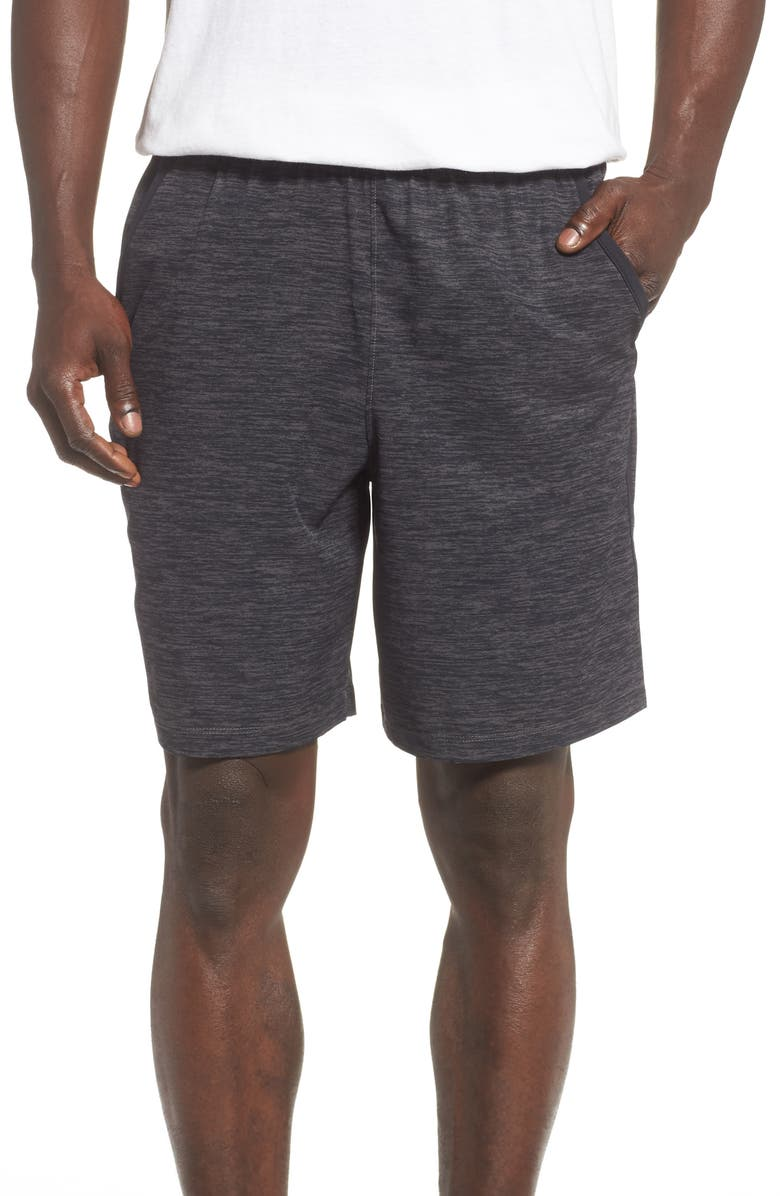 UNDER ARMOUR Qualifier Performance Athletic Shorts, Main, color, JET GREY/ BLACK