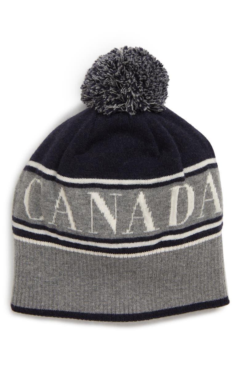 CANADA GOOSE Pom Merino Wool Beanie, Main, color, NAVY