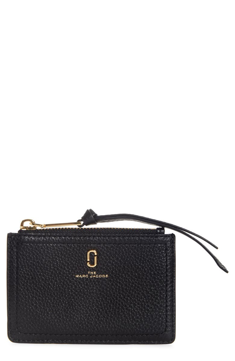 THE MARC JACOBS Snapshot Leather Zip Wallet, Main, color, BLACK