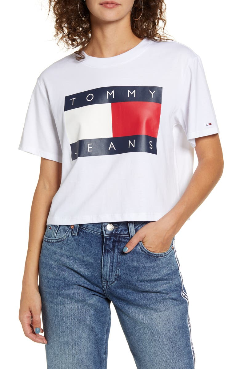 TOMMY JEANS Flag Tee, Main, color, BRIGHT WHITE