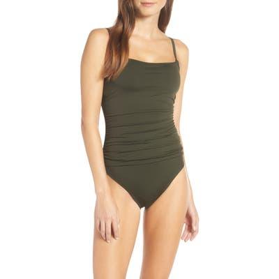 La Blanca Island Goddess One-Piece Swimsuit, Green