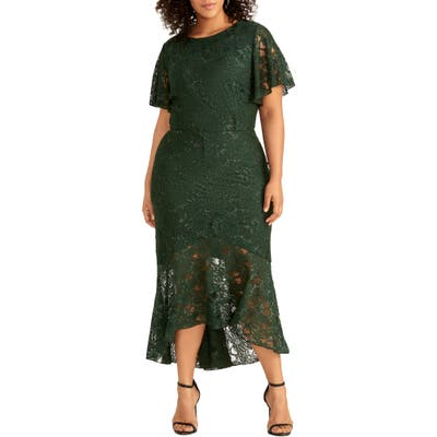 Plus Size Rachel Rachel Roy Sparkle Lace Cocktail Dress, Green