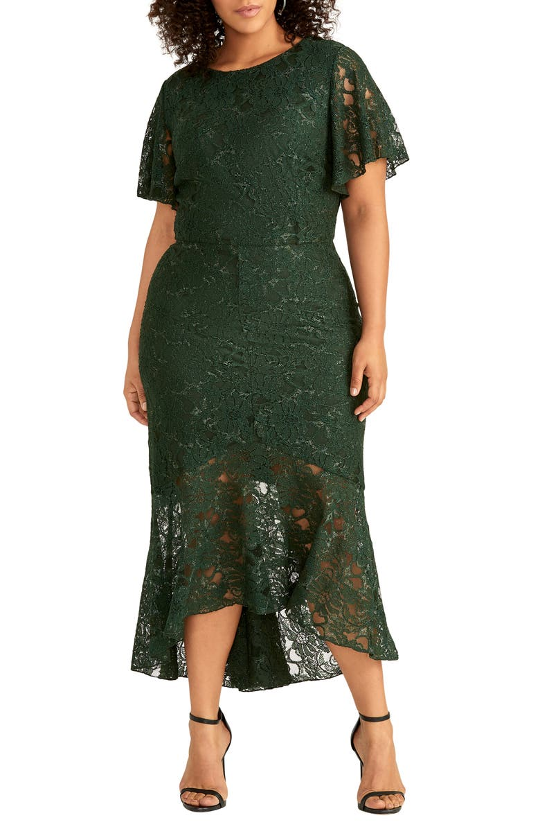 RACHEL RACHEL ROY Sparkle Lace Cocktail Dress, Main, color, EVERGREEN