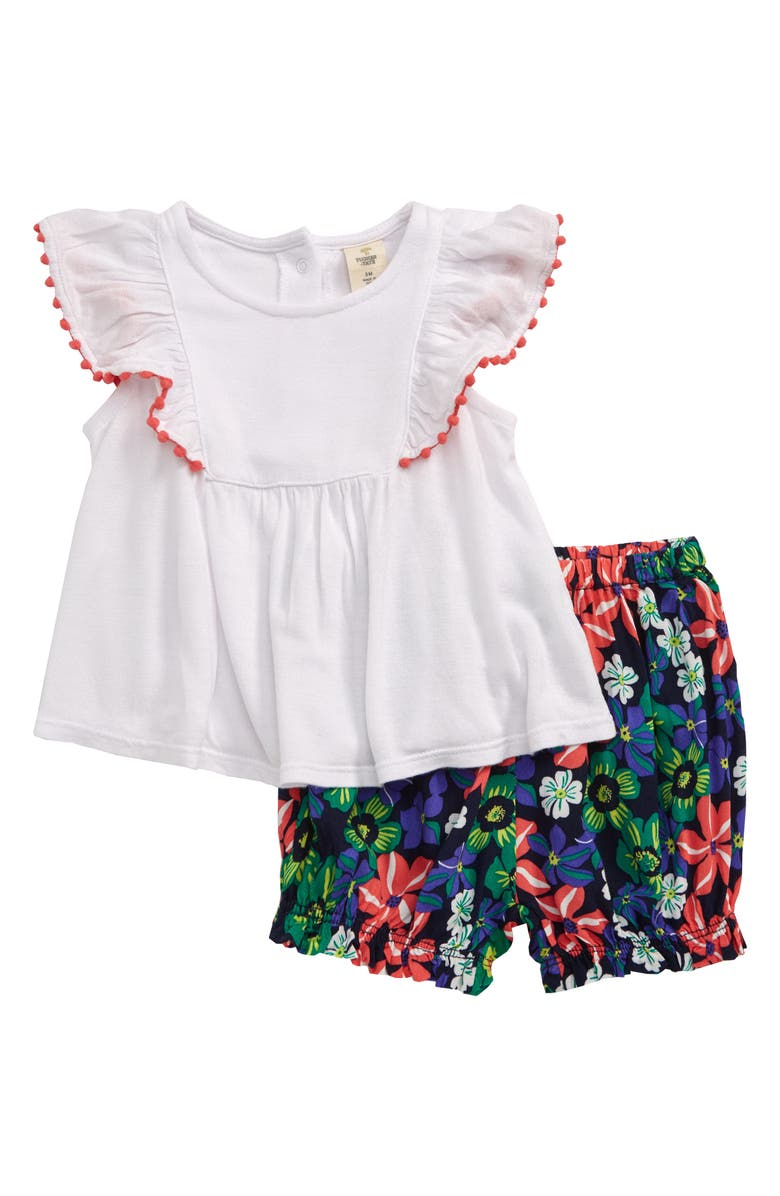 TUCKER + TATE Color Pop Shirt & Shorts Set, Main, color, WHITE- NAVY PARADISE FLORAL