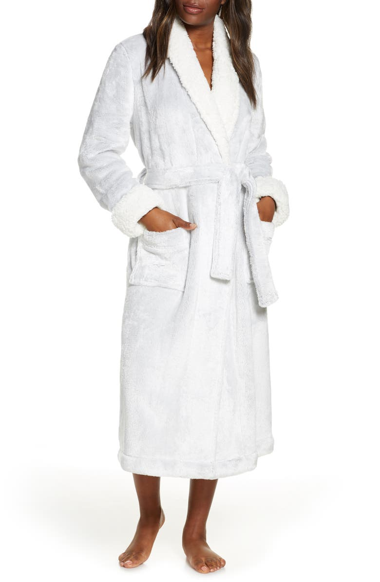 NORDSTROM Frosted Plush Robe, Main, color, GREY PEPPER