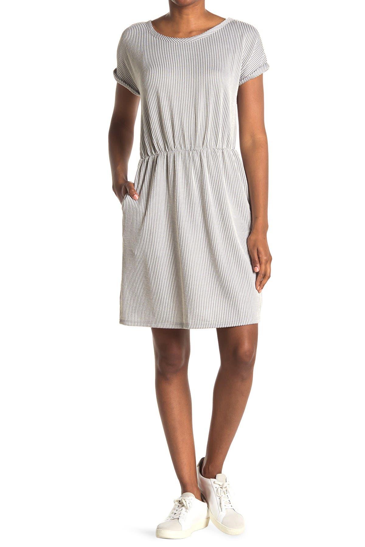 Image of TASH + SOPHIE Striped Short Sleeve Pocket Dress
