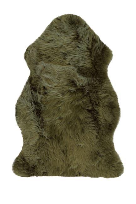 Image of Natural Milan Genuine Sheep Shearling Single Sheepskin Rug - 2ft x 3ft  - Khaki