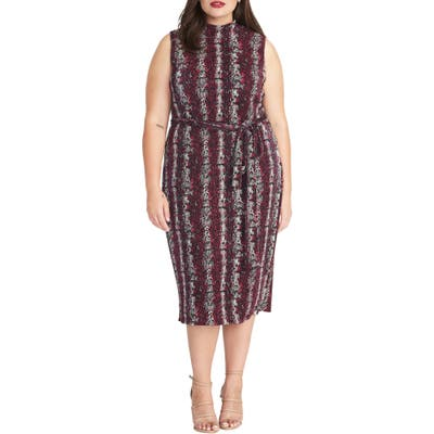 Plus Size Rachel Rachel Roy Snake Print Sleeveless Sheath Dress, Pink