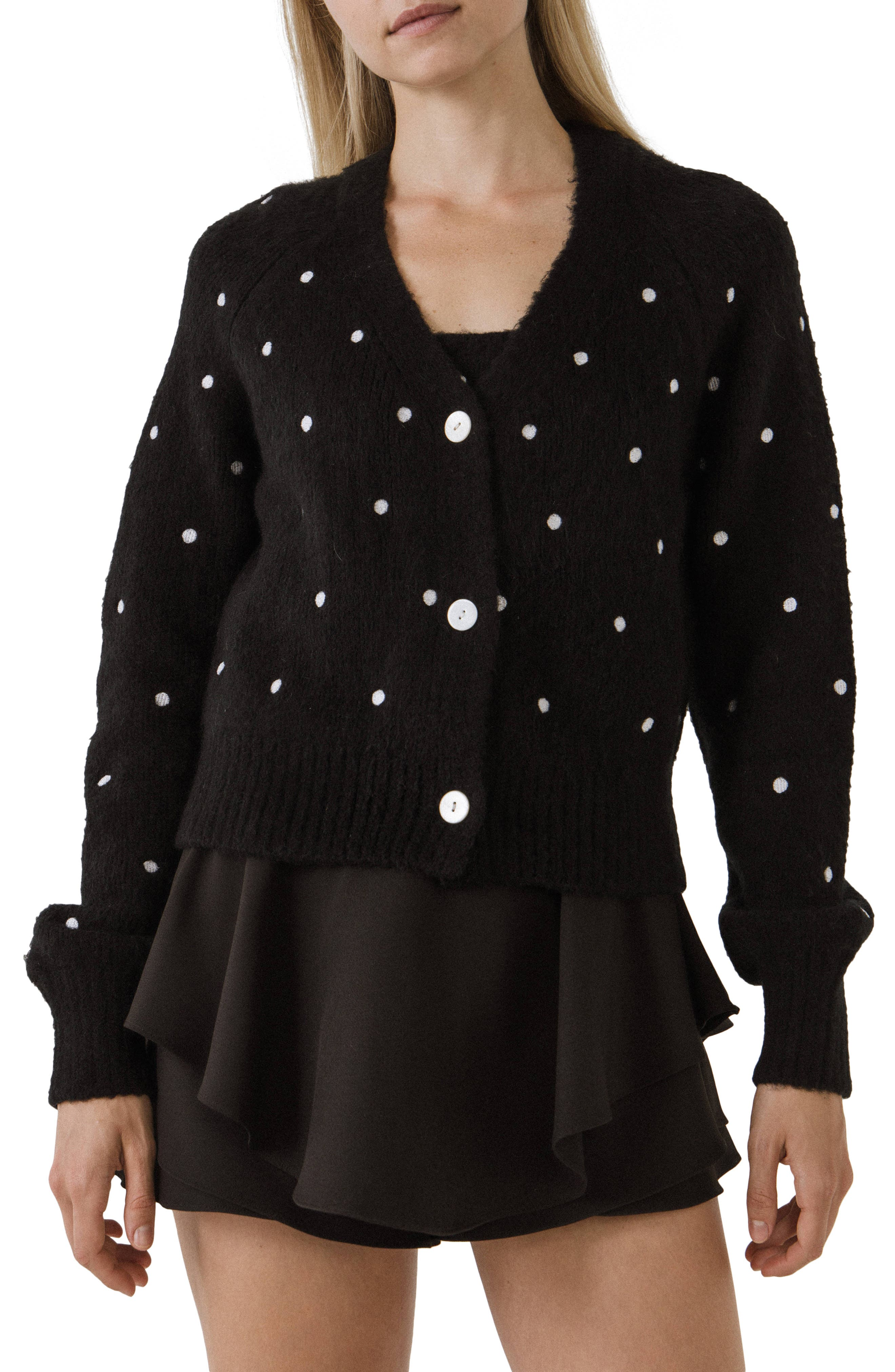 Dot Embroidered Cardigan