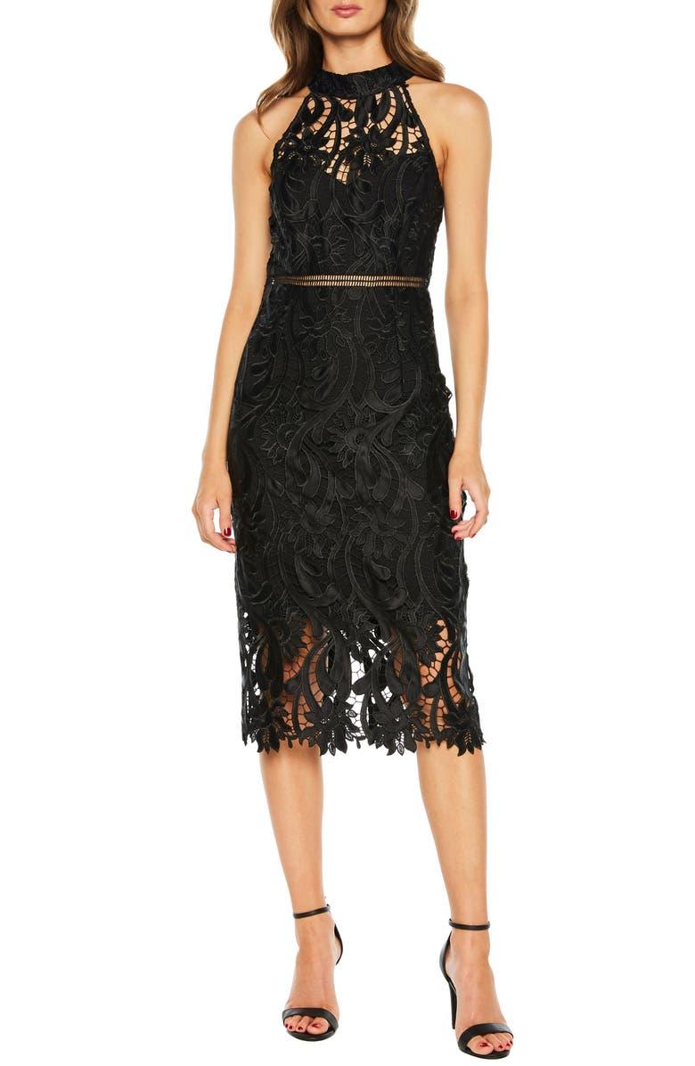 BARDOT Isa Lace Halter Dress, Main, color, 001