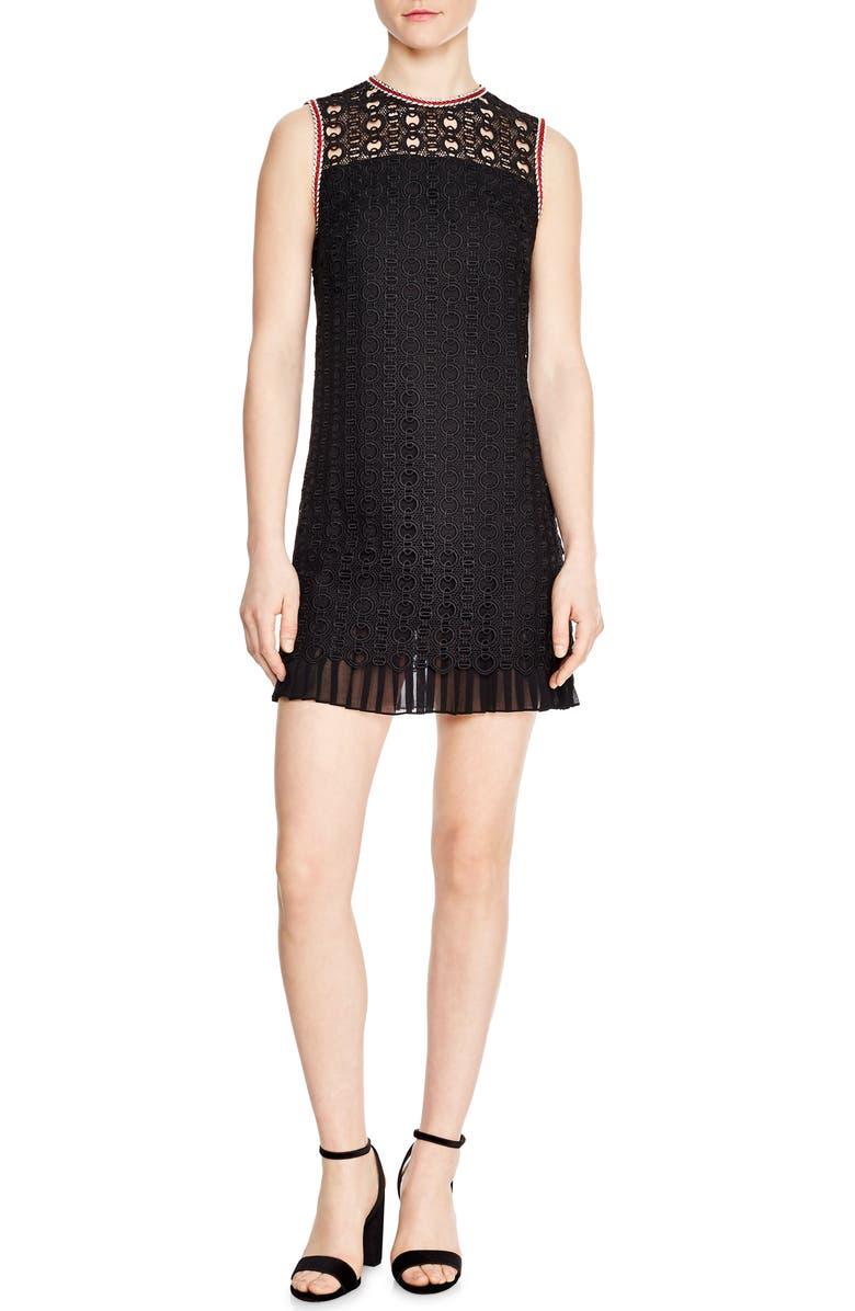 SANDRO Franck Crochet Shift Dress, Main, color, 001