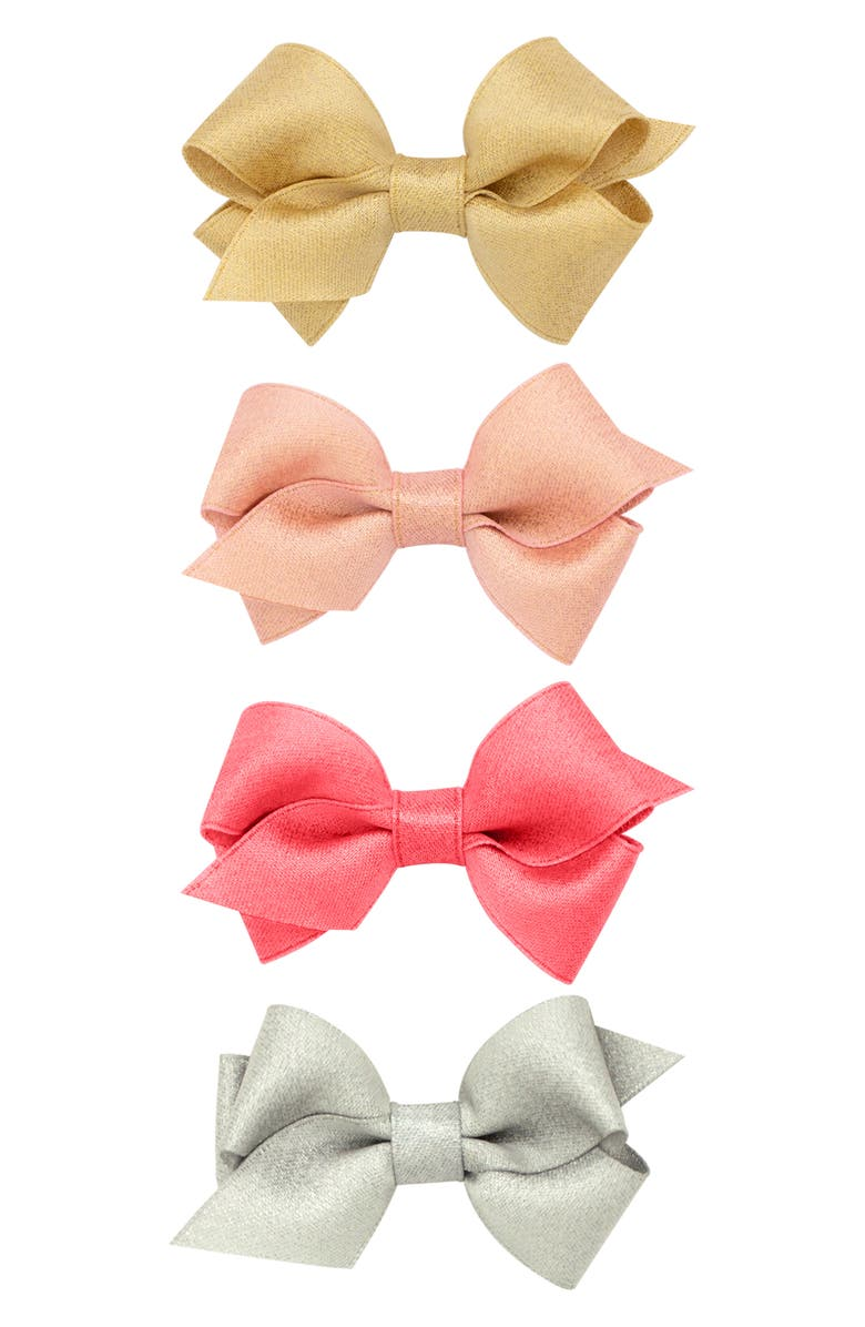 PLH BOWS 4-Pack Sparkle Hair Clips, Main, color, MULTI NEW